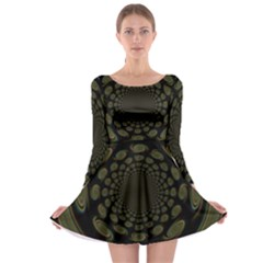 Dark Portal Fractal Esque Background Long Sleeve Skater Dress