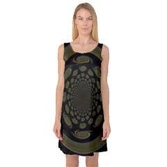 Dark Portal Fractal Esque Background Sleeveless Satin Nightdress