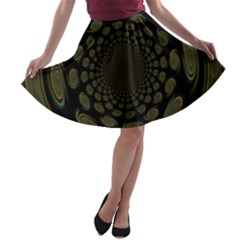 Dark Portal Fractal Esque Background A Line Skater Skirt