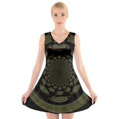 Dark Portal Fractal Esque Background V Neck Sleeveless Skater Dress