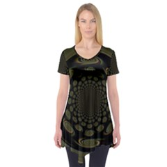 Dark Portal Fractal Esque Background Short Sleeve Tunic