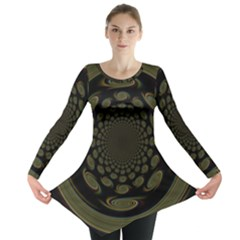 Dark Portal Fractal Esque Background Long Sleeve Tunic