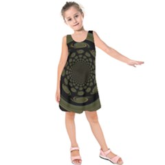 Dark Portal Fractal Esque Background Kids  Sleeveless Dress