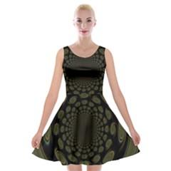 Dark Portal Fractal Esque Background Velvet Skater Dress