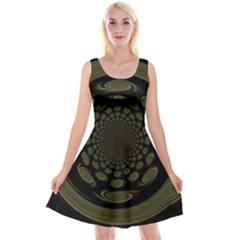 Dark Portal Fractal Esque Background Reversible Velvet Sleeveless Dress