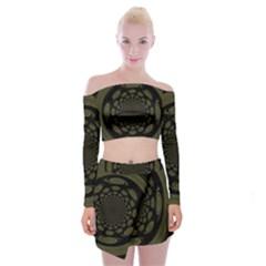 Dark Portal Fractal Esque Background Off Shoulder Top With Skirt Set