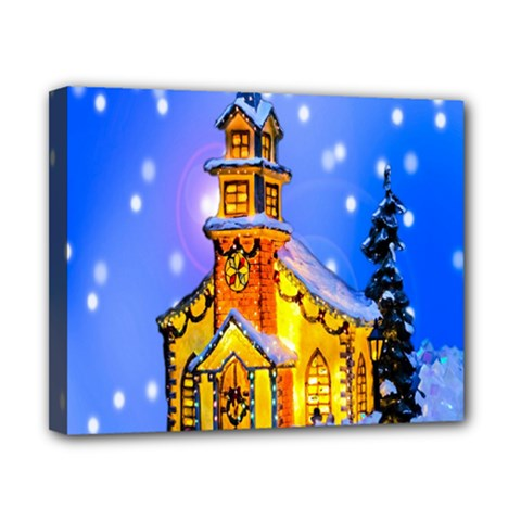 Winter Church Canvas 10  x 8
