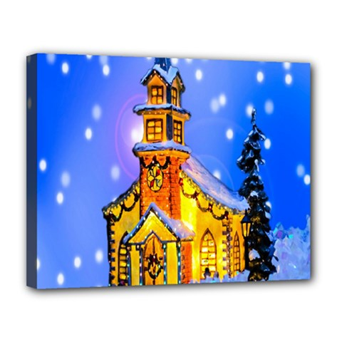 Winter Church Canvas 14  x 11
