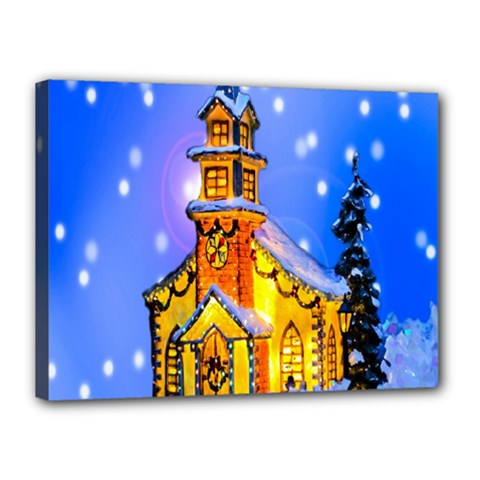 Winter Church Canvas 16  x 12