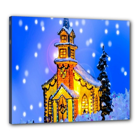 Winter Church Canvas 24  x 20