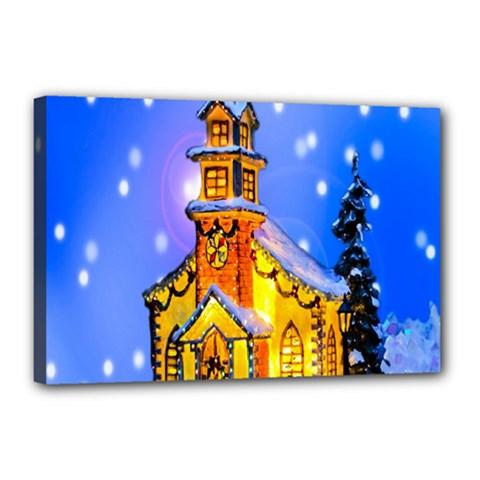 Winter Church Canvas 18  x 12