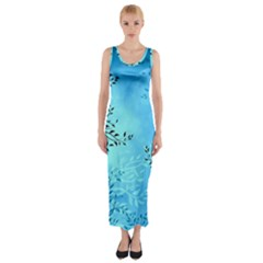 Blue Night Portrait Background Fitted Maxi Dress