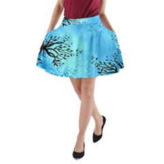 Blue Night Portrait Background A-Line Pocket Skirt
