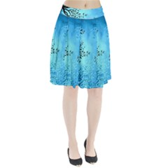 Blue Night Portrait Background Pleated Skirt