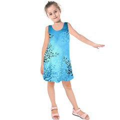 Blue Night Portrait Background Kids  Sleeveless Dress