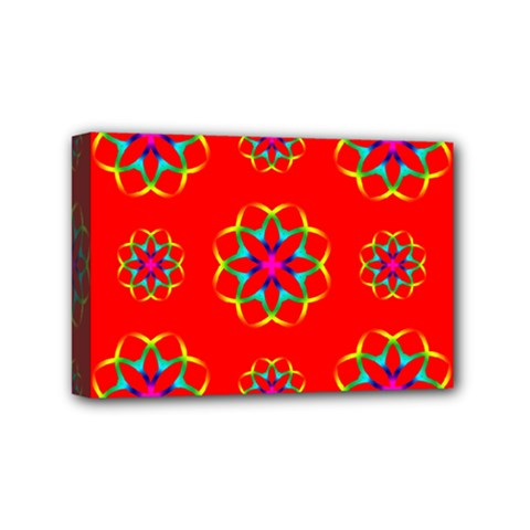 Rainbow Colors Geometric Circles Seamless Pattern On Red Background Mini Canvas 6  x 4