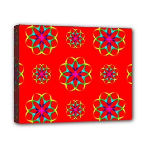 Rainbow Colors Geometric Circles Seamless Pattern On Red Background Canvas 10  x 8