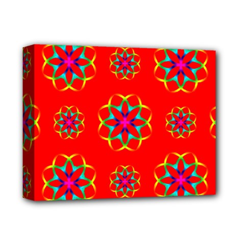 Rainbow Colors Geometric Circles Seamless Pattern On Red Background Deluxe Canvas 14  x 11