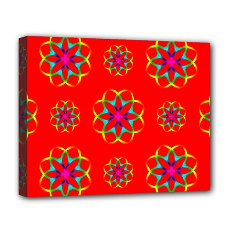 Rainbow Colors Geometric Circles Seamless Pattern On Red Background Deluxe Canvas 20  x 16