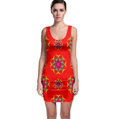 Rainbow Colors Geometric Circles Seamless Pattern On Red Background Sleeveless Bodycon Dress