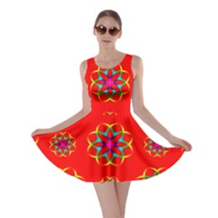 Rainbow Colors Geometric Circles Seamless Pattern On Red Background Skater Dress