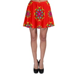 Rainbow Colors Geometric Circles Seamless Pattern On Red Background Skater Skirt