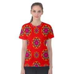Rainbow Colors Geometric Circles Seamless Pattern On Red Background Women s Cotton Tee