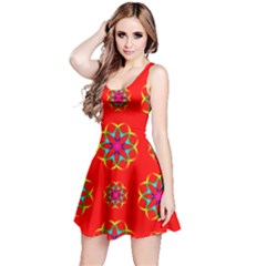 Rainbow Colors Geometric Circles Seamless Pattern On Red Background Reversible Sleeveless Dress