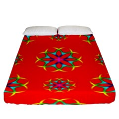 Rainbow Colors Geometric Circles Seamless Pattern On Red Background Fitted Sheet (king Size)