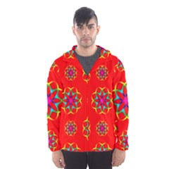 Rainbow Colors Geometric Circles Seamless Pattern On Red Background Hooded Wind Breaker (Men)