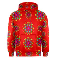 Rainbow Colors Geometric Circles Seamless Pattern On Red Background Men s Pullover Hoodie