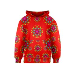 Rainbow Colors Geometric Circles Seamless Pattern On Red Background Kids  Pullover Hoodie