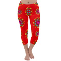 Rainbow Colors Geometric Circles Seamless Pattern On Red Background Capri Winter Leggings