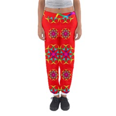 Rainbow Colors Geometric Circles Seamless Pattern On Red Background Women s Jogger Sweatpants