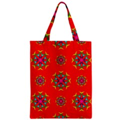 Rainbow Colors Geometric Circles Seamless Pattern On Red Background Zipper Classic Tote Bag
