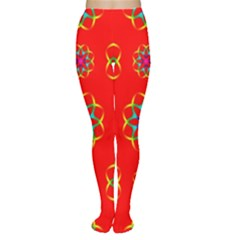 Rainbow Colors Geometric Circles Seamless Pattern On Red Background Women s Tights
