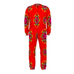 Rainbow Colors Geometric Circles Seamless Pattern On Red Background Onepiece Jumpsuit (kids)