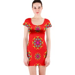 Rainbow Colors Geometric Circles Seamless Pattern On Red Background Short Sleeve Bodycon Dress
