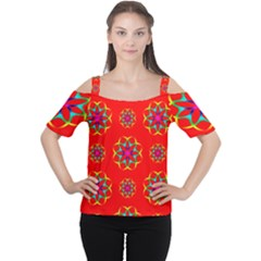 Rainbow Colors Geometric Circles Seamless Pattern On Red Background Women s Cutout Shoulder Tee