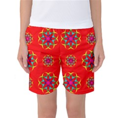 Rainbow Colors Geometric Circles Seamless Pattern On Red Background Women s Basketball Shorts