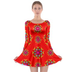 Rainbow Colors Geometric Circles Seamless Pattern On Red Background Long Sleeve Skater Dress