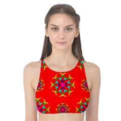 Rainbow Colors Geometric Circles Seamless Pattern On Red Background Tank Bikini Top