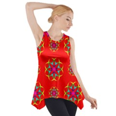 Rainbow Colors Geometric Circles Seamless Pattern On Red Background Side Drop Tank Tunic