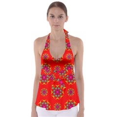 Rainbow Colors Geometric Circles Seamless Pattern On Red Background Babydoll Tankini Top