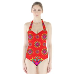 Rainbow Colors Geometric Circles Seamless Pattern On Red Background Halter Swimsuit