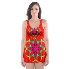 Rainbow Colors Geometric Circles Seamless Pattern On Red Background Skater Dress Swimsuit