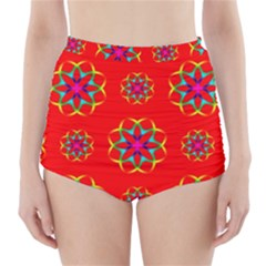 Rainbow Colors Geometric Circles Seamless Pattern On Red Background High-Waisted Bikini Bottoms