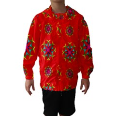 Rainbow Colors Geometric Circles Seamless Pattern On Red Background Hooded Wind Breaker (Kids)