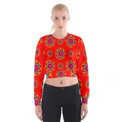 Rainbow Colors Geometric Circles Seamless Pattern On Red Background Cropped Sweatshirt