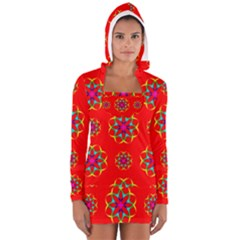 Rainbow Colors Geometric Circles Seamless Pattern On Red Background Women s Long Sleeve Hooded T-shirt